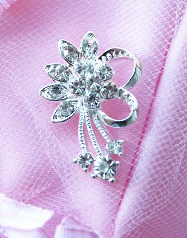 """1 pc 1.2"""" Fancy Diamante Rhinestone Crystal Button Hair Clip Wedding Invitation BT069"""