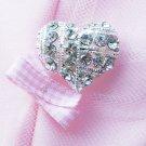 "1 pc Heart 1"" (25mm) Diamante Rhinestone Crystal Button Hair Clip Wedding Invitation BT089"