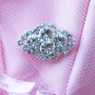 1 pc Diamond Square Rhinestone Crystal Diamante Button Hair Clip Wedding Invitation BT090