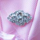10 Diamond Square Rhinestone Crystal Diamante Button Hair Clip Wedding Invitation BT090