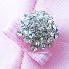 20 pcs Dome Round Diamante Rhinestone Crystal Button Hair Clip Wedding Invitation BT093