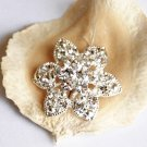 "1 pc 1.2"" (30mm) Round Flower Diamante Rhinestone Crystal Button Hair Clip Wedding Invitation BT078"