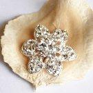 """100 Round Flower 1.2"""" (30mm) Diamante Rhinestone Crystal Button Hair Clip Wedding Invitation BT078"""