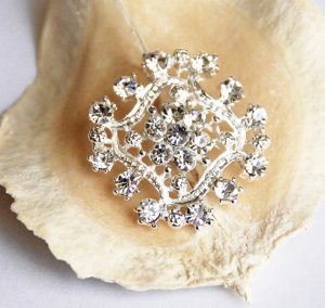 10 pcs Diamond Square Diamante Rhinestone Crystal Button Hair Clip Wedding Invitation BT057