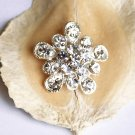 "1 pc 1"" (25mm) Round Diamante Rhinestone Crystal Button Hair Clip Wedding Invitation BT070"
