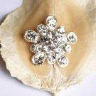 "10 pcs Round 1"" (25mm) Diamante Rhinestone Crystal Button Hair Clip Wedding Invitation BT070"