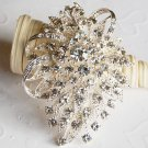 "1 pc 2.75"" Fancy Flower Rhinestone Crystal Diamante Silver Brooch Pin Jewelry Cake Decoration BR063"