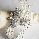 "1 pc 2-5/8"" Rhinestone Crystal Diamante Silver Flower Brooch Pin Jewelry Cake Decoration BR052"