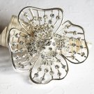 "1 pc 2.6"" Rhinestone Crystal Diamante Silver Flower Brooch Pin Jewelry Cake Decoration BR068"