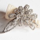 "1 pc 3-1/8"" Rhinestone Crystal Diamante Silver Flower Brooch Pin Jewelry Cake Decoration BR053"