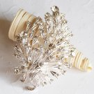 "1 pc 3-1/8"" Rhinestone Crystal Diamante Silver Flower Brooch Pin Jewelry Cake Decoration BR008"