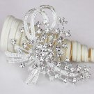 1 pc Rhinestone Crystal Diamante  Silver Flower Brooch Pin Jewelry Cake Decoration BR062