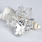 1 pc Rhinestone Crystal Diamante Silver Flower Brooch Pin Jewelry Cake Decoration BR047