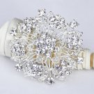 "1 pc 2-1/4"" Rhinestone Crystal Diamante Silver Flower Brooch Pin Jewelry Cake Decoration BR070"