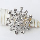 "1 pc 1-3/4"" Rhinestone Crystal Diamante Silver Flower Brooch Pin Jewelry Cake Decoration BR001"