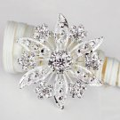 1 pc Rhinestone Crystal Diamante Silver Flower Brooch Pin Jewelry Cake Decoration BR069