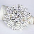 1 pc Rhinestone Crystal Diamante Silver Flower Brooch Pin Jewelry Cake Decoration BR004