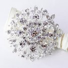 "1 pc 2"" Rhinestone Crystal Diamante Silver Flower Brooch Pin Jewelry Cake Decoration BR049"