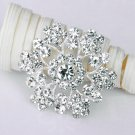"1 pc 1-5/8"" Rhinestone Crystal Diamante Silver Flower Brooch Pin Jewelry Cake Decoration BR005"