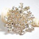 1 pc Rhinestone Crystal Diamante Silver Flower Brooch Pin Jewelry Cake Decoration BR067