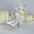 1 pc Rhinestone Crystal Diamante & Ivory Pearl Silver Brooch Pin Jewelry Cake Decoration BR060