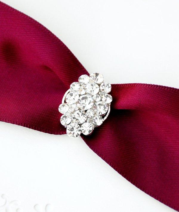 1 pc Fancy OVAL Silver Diamante Rhinestone Crystal Buckle Slider Wedding Invitation BK073