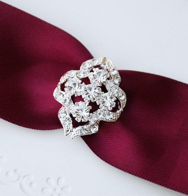 50 Fancy OVAL Silver Diamante Rhinestone Crystal Buckle Slider Wedding Invitation Chair Cover BK060