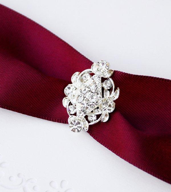 1 pc Fancy OVAL Silver Diamante Rhinestone Crystal Buckle Slider Wedding Invitation BK061