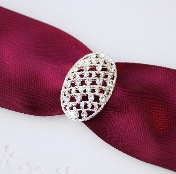1 pc Fancy OVAL Silver Diamante Rhinestone Crystal Buckle Slider Wedding Invitation BK074