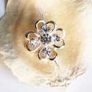 1 pc Rhinestone Button Clover Diamante Crystal Hair Clip Wedding Invitation BT071