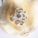 10 pcs Rhinestone Button Clover Diamante Crystal Hair Clip Wedding Invitation BT071