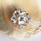 50 Rhinestone Button Diamond Square Diamante Crystal Hair Clip Wedding Invitation BT047