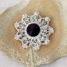 10 Rhinestone Button Round Diamante Crystal Jet Black Hair Clip Wedding Invitation BT095