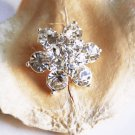 1 pc Rhinestone Button Round Diamante Crystal Hair Clip Wedding Invitation BT048