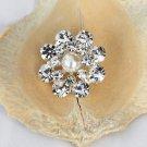 10 Rhinestone Pearl Button Round Diamante Crystal Hair Clip Wedding Invitation BT096