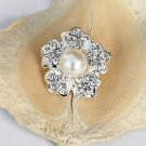 10 Rhinestone Pearl Button Round Diamante Crystal Hair Clip Wedding Invitation BT072
