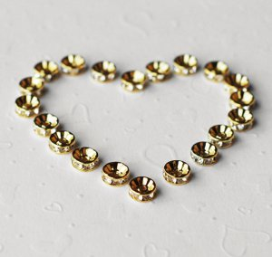 20 pcs Swarovski Roundelle Rhinestone Crystal Gold Plated Spacer 8mm Bead Caps AC032