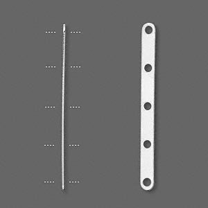 100 pcs Spacer bar silver plated 5-strand rounded rectangle 8mm between holes AC023
