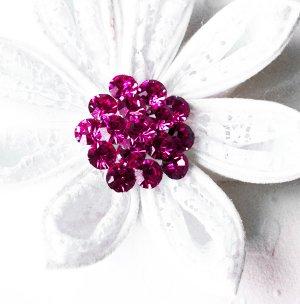 "50 Round Diamante 1.1"" Fuchsia Hot Pink Rhinestone Crystal Button Wedding Invitation BT111"