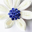 "1 pc Round Diamante 1.1"" Dark Sapphire Blue Rhinestone Crystal Button Wedding Invitation BT109"