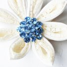 "10 Round Diamante 1.1"" Light Blue Rhinestone Crystal Button Wedding Invitation BT110"