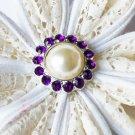 10 Rhinestone Pearl Button Dark Amethyst Purple Crystal Hair Flower Clip Wedding Invitation BT121