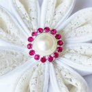 10 Rhinestone Pearl Button Rose Pink Crystal Hair Flower Clip Wedding Invitation BT120