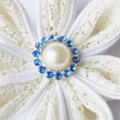 10 Rhinestone Pearl Button Light Blue Crystal Hair Flower Clip Wedding Invitation BT122
