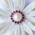 10 Rhinestone Pearl Button Fuchsia Hot Pink Crystal Hair Flower Clip Wedding Invitation BT117