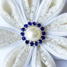 10 Rhinestone Pearl Button Dark Sapphire Blue Crystal Hair Flower Clip Wedding Invitation BT106