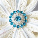 10 Rhinestone Button Teal Blue Crystal Hair Flower Comb Wedding Invitation BT129