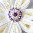 10 Rhinestone Button Light Lavender Purple Crystal Hair Flower Comb Wedding Invitation BT126