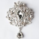 1 pc Rhinestone Crystal Diamante Silver Flower Brooch Pin Jewelry Wedding Cake Decoration BR078