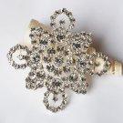 1 pc Rhinestone Crystal Diamante Silver Flower Brooch Pin Jewelry Wedding Cake Decoration BR097